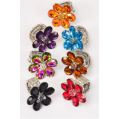 "Rings Acrylic Flower Color Rhinestones Stretch Dark Multi/DZ **Stretch** Flower Size-1.25"" Wide,2 Black,2 Red,2 AB Multi,2 Clear,2 Purple,2 Topaz,6 Color Asst."
