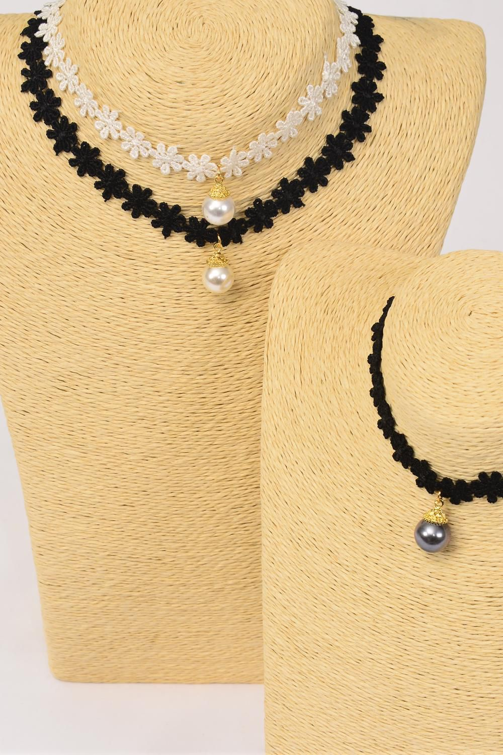 "Necklace Choker Black Lace 14 mm Pearl Pendant/DZ Size-14"" W Extension Chain,4 Gray,4 Cream,4 White,3 of each Color Asst,Display Card & OPP Bag & UPC Code"