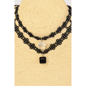 "Necklace Choker Black Lace Square Crystal Drops/DZ Size-14"" Extension Chain,6 Black,6 Clear Asst,Display Card & OPP Bag & UPC Code"