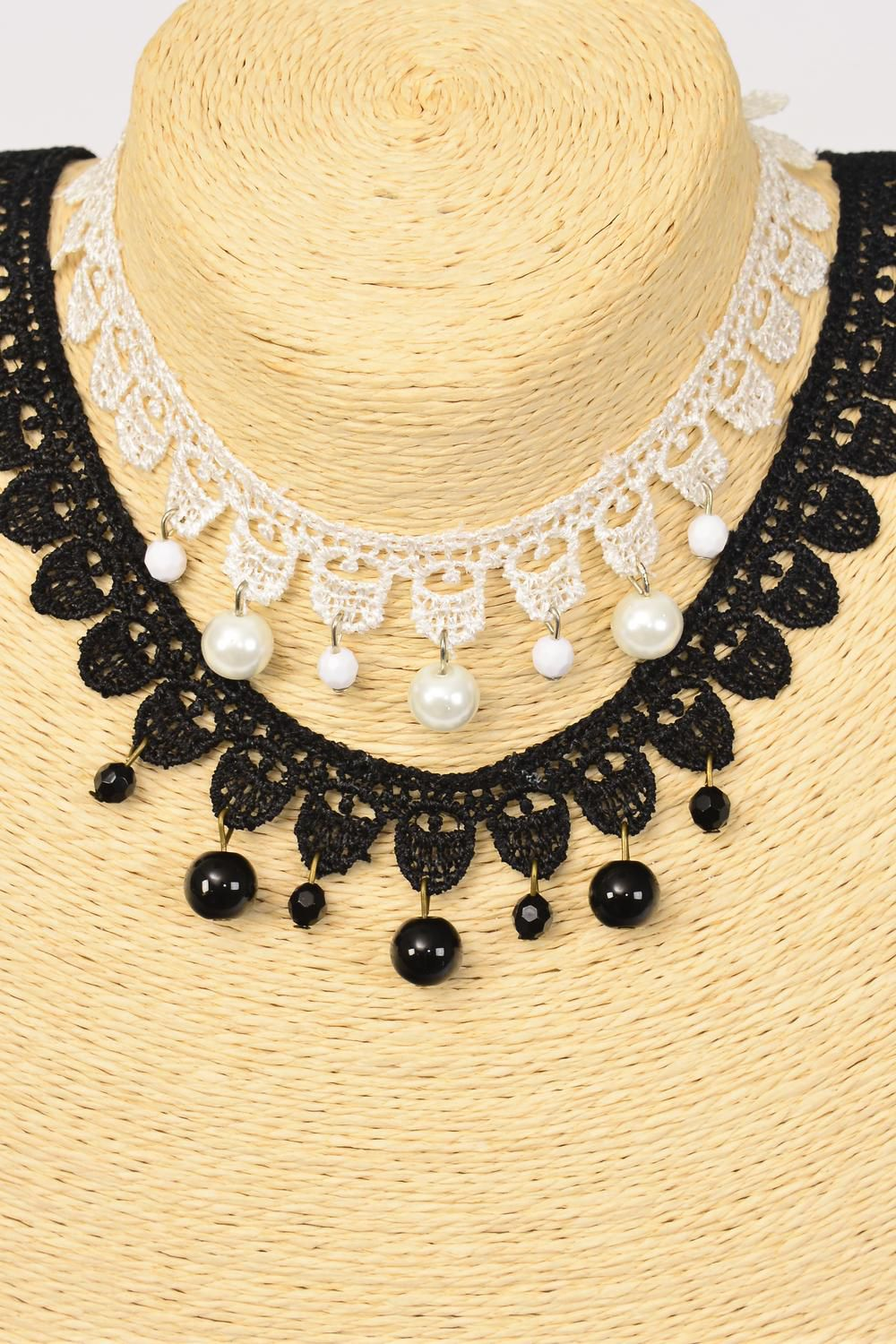 "Necklace Choker Lace Pearl Drops/DZ Size-14"" W Extension Chain,6 Black,6 White Asst,Display Card & OPP Bag & UPC Code"
