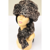 Faux Fur Hat & Scarf Matching Sets/Ssts With OPP Bag & UPC Code