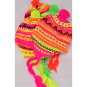 Winter Knitted Hat Neon Snowflake Fleece Inside Polyester Heavy Weight/DZ 3 Hot Pink,3 Orange,3 Lime,3 Neon Yellow, 4 Color Asst,Hang Tag & OPP Bag & UPC Code -