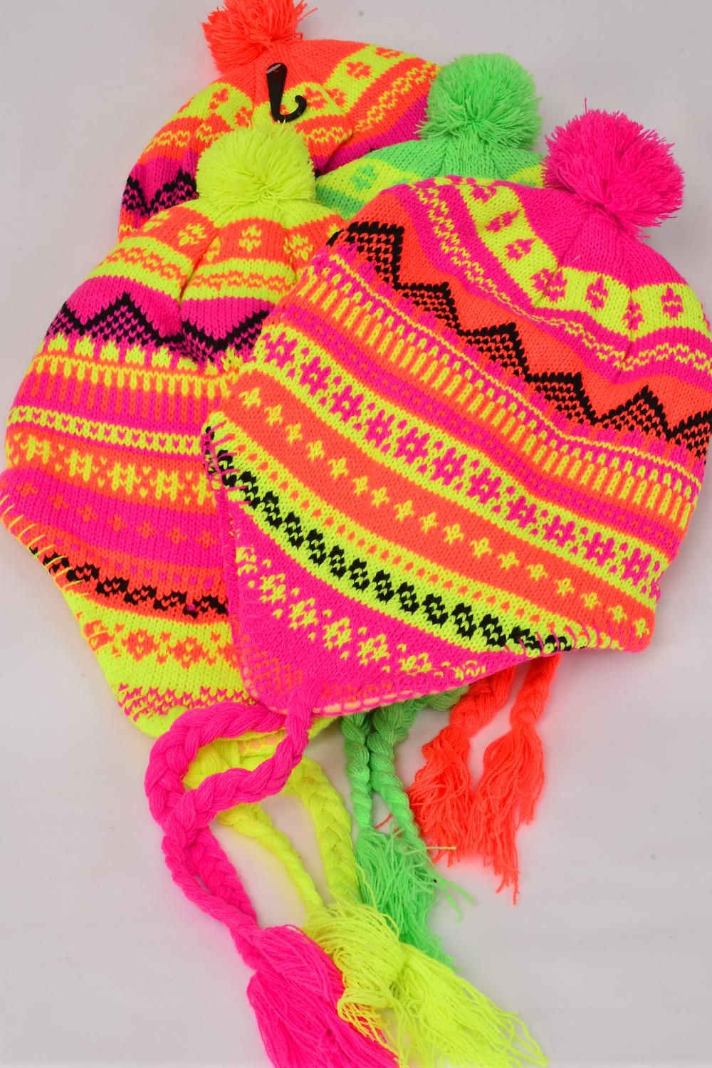 Knit Cap Neon Eskimo With Ball Polyester Heavy Weight/DZ 3 Hot Pink,3 Orange,3 Lime,3 Neon Yellow, 4 Color Asst,Hang Tag & OPP Bag & UPC Code -