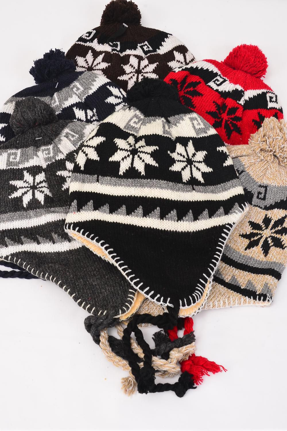 Knit Cap Snow flake Ball Fleece/DZ Snow Flake Ball cap,2 of each Color Asst,W OPP Bag & UPC Code -