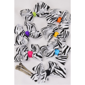 "Hair Bow Grosgrain Bow-tie White Zebra Multi Knot/DZ **Alligator Clip** Size-3""x 2"" Wide,2 Black,2 Purple,2 Blue,2 Fuchsia,2 Yellow,1 Orange,1 Lime mix,Display Card & UPC Code,W Clear -"