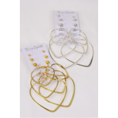 "Earrings 6 Pair Hearts & Round Studs Mix/DZ Size-Hearts 1.75"" & 2"" & 2.75"" 3 Size Mix,Choose Gold Or Silver Finish,Earring Card & OPP bag & UPC Code,12card=Dozen"