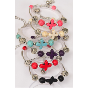 Bracelet Cross Semiprecious Stones/DZ **Adjustable Length** 2 of each Color Asst,Hang Tag & OPP Bag & UPC Code