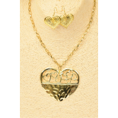 "Necklace Sets 30 inch Chain  Metal Heart Pendant Gold/DZ Pendant Size-2.75""x2.25"" Wide,30"" Long,Hang tag & OPP Bag & UPC Code - None"