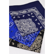 "Bandanna Jumbo 100% Cotton Double Print/DZ **Good Quaility** Size-22""x22"" Wide,Choose Colors,OPP Bag"