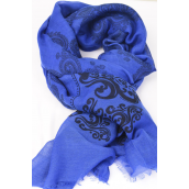 "Scarf Polyester Pasley Pattern Royal Blue/DZ **Royal Blue** Size-71""x 28"" Wide,Individual OPP Bag & UPC Code"
