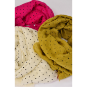 "Scarf Polyester Mini Polka dots/DZ Size-71""x 28"" Wide,Individual OPP Bag & UPC Code,Choose Colors"