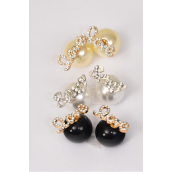 Earrings 16 mm ABS Pearl Ball Rhinestone Love & Sexy Words Post/DZ **Post** 6 Love & 6 Sexy Words Mix,2 of each Color & Words Mix,Earring Card & OPP bag & UPC Code -