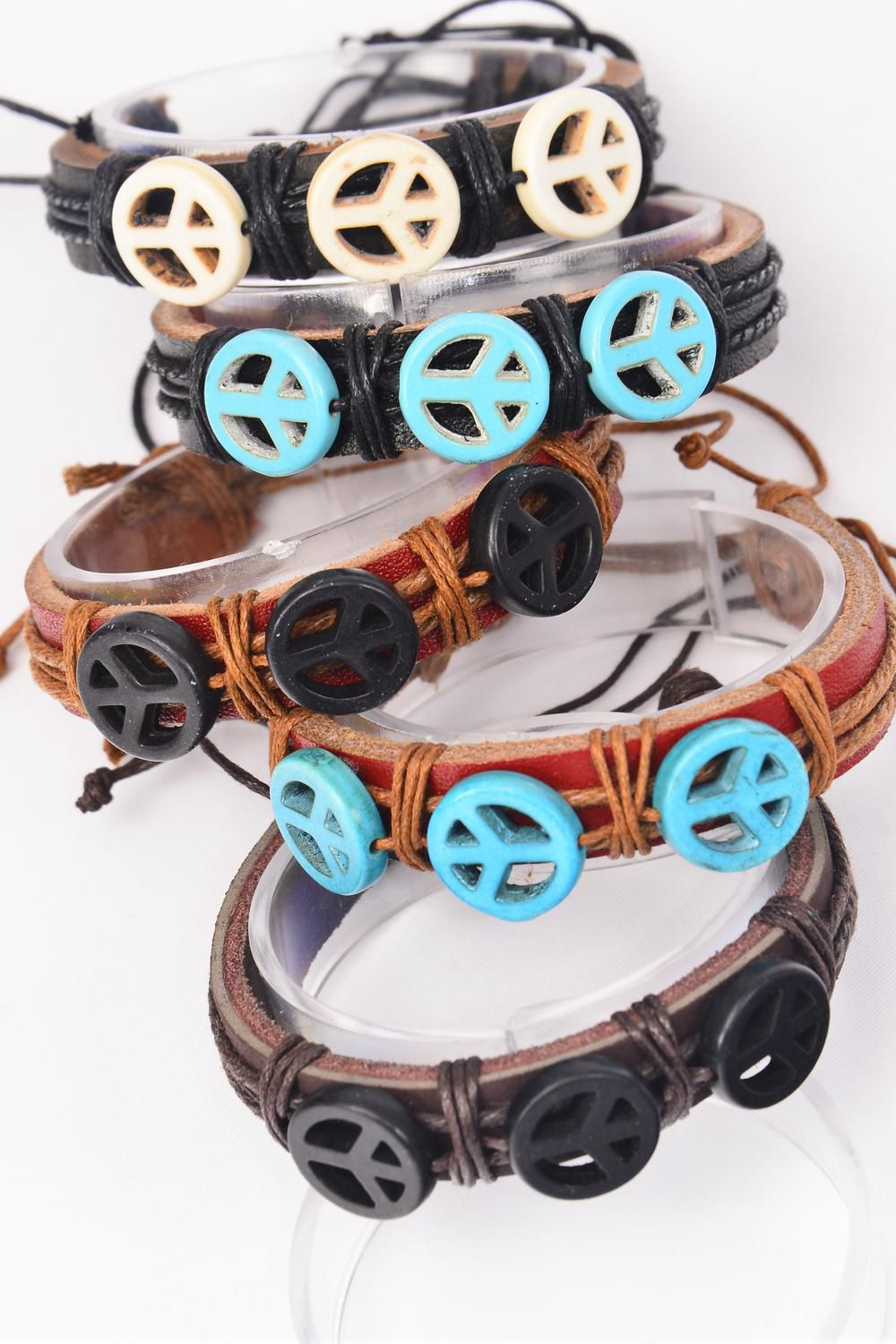 Bracelets Real Leather Band Semiprecious Stone Peace Sign Symbol/DZ **Unisex** Adjustable,3 of each Color Asst,Hang tag & OPP Bag & UPC Code -