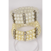 "Bracelet 3 Line Glass Pearl Rhinestone Bezels Stretch White Cream Gray Mix/DZ **Stretch** Size-1"" Dia Wide,4 White,4 Cream,4 Gray Mix,Hang tag & Opp bag & UPC Code -"