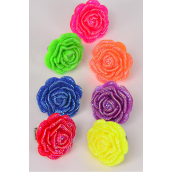 "Rings Poly Cluster Rose Stretch/DZ **Stretch** Flower Size-1.5"" Wide,2 of each Color Asst."