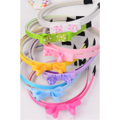 Headband Horseshoe 24 pcs Daisy Flowers Grosgrain Bowtie Inner Pack of 2/DZ **Multi** 2 Black,2 Hot Pink,2 Baby Pink,2 Lavender,2 Blue,1 Yellow,1 Lime,7 Color Asst,hang tag & UPC Code,W Clear Box,2 pcs per Card,12card