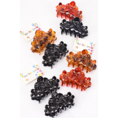 "Jaw Clip Sets Acrylic Black & Tortoise Mix Inner Pack of 2/DZ Size-3""x 1.5"" Wide,3 of each Color Asst,Hang Tag & Individual OPP Bag & UPC Code,2 pecs per Card,12 card=Dozen"