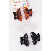 "Jaw Clip Sets Acrylic Black & Tortoise mix Inner Pack of 6/DZ Size-1""x 0.75"" Wide,Display Card & OPP Bag & UPC Code,6 pcs per Card,12 card=Dozen -"
