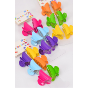 "Jaw Clip Sets Acrylic Multi Color Mix Inner Pack of 6 /DZ Size-1.5""x  0.75"" Wide,Display Card & OPP Bag & UPC Code,4 of each Color Asst,6 pcs per Card,12 card=Dozen"