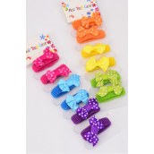 "Twister Mini Bow-tie 6 pcs Polkadots Grosgrain Bowtie Doughnut/DZ Bow-tie Size-1"" x 0.75"",56 of each Color Mix, Individual OPP Bag & UPC code,6 pcs per Card,12 Card=Dozen"
