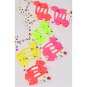 Hair Bows Grosgrain Bow-tie Neon 48 pcs Snap Clip/DZ **Snap Clip** 4 of each Color Asst,Display card & UPC Code,4 pcs per Card,12 card=Dozen