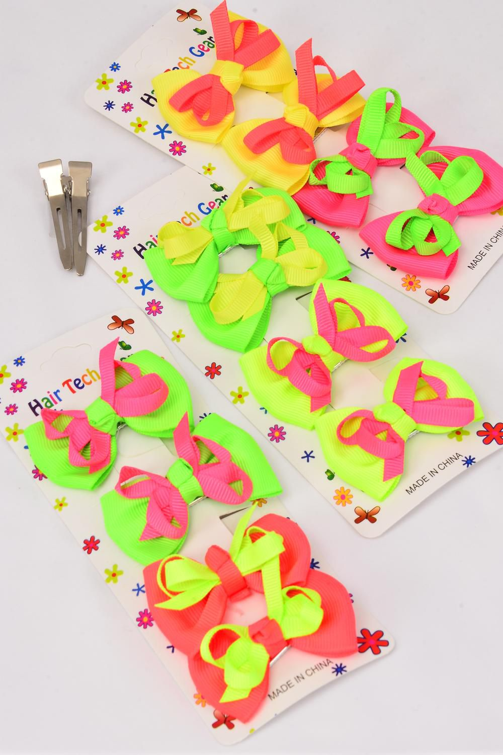 "Hair Bow Grosgrain Bow-tie Neon 48 pcs Alligator Clip/DZ **Alligator Clip** Bow-tie Size-2.5""x 1.5"" Wide,4 of each Color Asst,Display card & UPC code,4 pcs Bow-tie per Card,12card=Dozen-"