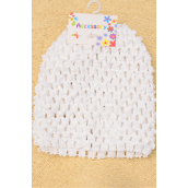 "Kufi Hat Crochet for Kid Stretch White/DZ **White** Stretch,Size-5.5""x 5.5"" Wide,Hang Tag & UPC Code"