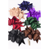"Hair Bow Jumbo Wide Loop Bow Grosgrain Fabric Dark Multi Mix/DZ **Dark Multi** Alligator Clip,Bow-6""x 5"" Wide,2 Burg,2 Black,2 Navy,2 Hunter,2 Brown,1 Khaki,1 Purple Mix,Display Card & UPC cod -"