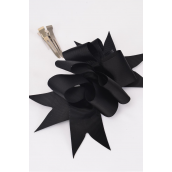 "Hair Bow Jumbo Wide Loop Bow Grosgrain Fabric Black/DZ **Black** Alligator Clip, Bow-6""x 5"" Wide,Display Card & UPC Code,Clear Box"