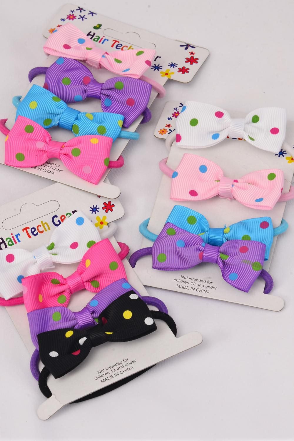 "Elastic Pony Grosgrain Bow-tie 4 pecs Multi Polka Dots/DZ **Elastic** Bow-tie Size-2""x 1"" Wide,4 of each Color Mix,Individual OPP Bag & UPC code,4pecs per Card,12 Card=Dozen"