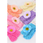 "Ballerina Headband 24 pcs Daisy Flower/DZ **Pastel** Stretch,Ballerina-1.5"" Wide,Flower-2"" Wide,2 of each Color Asst,Hang Tag & UPC Code"