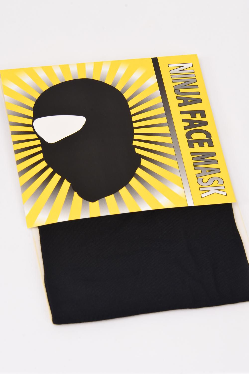 Ninja Face Mask Black Cotton Polyester/DZ Soft & Stretch Cotton/Spandex Sport Fabric,Display Card & OPP Bag & UPC Code -