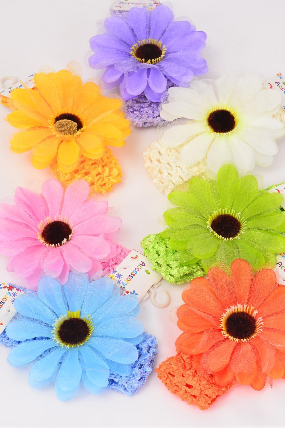 "Ballerina Headband Chiffon flower Stretch/DZ **Stretch** Ballerina-1.5"" Wide Flower-4"" Wide,2 Pink,2 Yellow,2 Beige,2 Blue,2 Orange,1 Lavender,1 Lime,7 Color Asst,Hang tag & UPC Code,Clear Box"