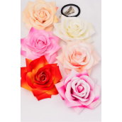 "Silk Flower Tea Rose Life Like Alligator Clip/DZ Size-5"" Wide, Alligator Clip & Brooch & Elastic Pony,2 of each Color Asst,Display Card & UPC Code,W Clear Box -"