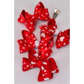 "hair bow large valentines bow-tie double grosgrain & Satin Fabric alligator clip/dz **Alligator Clip** Bow-4""x 3"" Wide,3 of each Color Asst,Display Card & UPC Code,W Clear Box -"