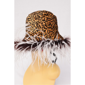 Hat Velvet Ostrich Feathers Reversible Leopard Brown White Feather/PC **Leopard Brown White Feather** Reversible, ONE SIZE