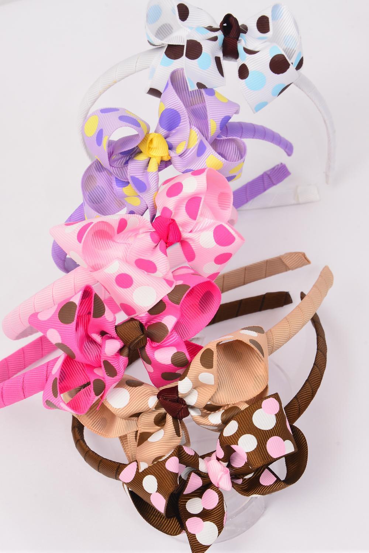 Headband Horseshoe Grosgrain Bow Tie Large Polkadot Mix Dz