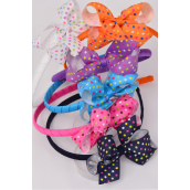 "Headband Horseshoe Grosgrain Bow-tie Polkadots Multi Colors Mix/DZ **Multi** Bow Size-4""x 3.5"" Wide,2 of each Color Asst,Hang Tag & UPC Code,W Clear Box"