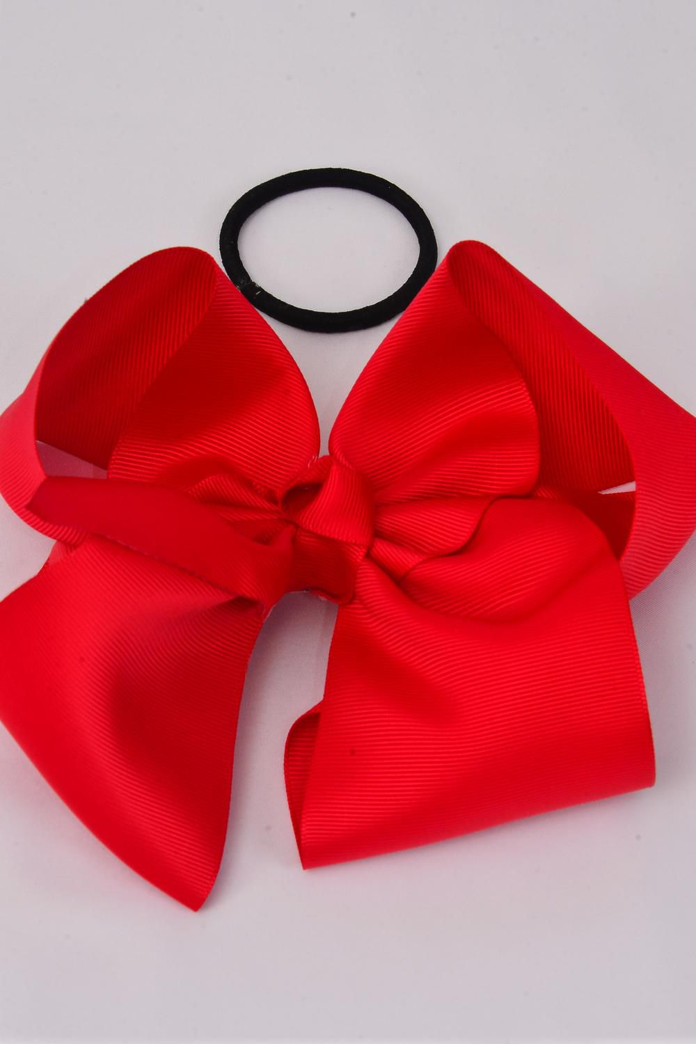 "Hair Bow Cheer Type Bow Red Elastic Pony Grosgrain Bow-tie/DZ **Red** Size-8""x 7"" Wide,Elastic Pony,W Clip Strip & UPC Code"