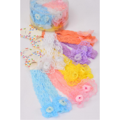 Headband Lace Infant Stretch 24 pcs Lace Flower Inner pack have 2 /DRUM **Stretch** 2 of each Color Asst,Hang Tag & UPC Code,W Clear Box,each Card has 2 pcs,12card=DZ