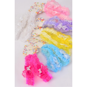 Headband Infant Stretch Lace Flower Pearl Bow-tie Inner pack have 2 /DY **Stretch** 2 of each Color Asst,Hang Tag & UPC Code, Clear Box,each Card has 2 pcs,12 card= Dozen -