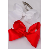 "Hair Bow Jumbo Red & White 6""x 5"" French Clip Grosgrain Bow-tie/DZ **Red & White**  French Clip,Size-6""x 5"" Wide, 6 Navy,6 White Mix,Display Card & UPC Code,W Clear Box"
