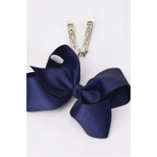 "Hair Bow Jumbo Navy 6""x 5"" French Clip Grosgrain Bow-tie/DZ **Navy**  French Clip,Size-6""x 5"" Wide, Display Card & UPC Code,W Clear Box"