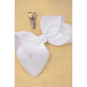 "Hair Bow Jumbo White Alligator Clip 6""x 5"" Grosgrain Fabric Bow-tie/DZ **White** Alligator Clip,Size-6""x 5"" Wide,Clip Strip & UPC Code"