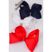 "Hair Bow Jumbo French Clip Red White Navy Mix  6""x 5"" Grosgrain Bow-tie/DZ **French Clip** Size-6""x 5"" Wide,4 of each Color Asst,Display Card & UPC Code,come W Clear Box -"