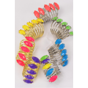 "Rings Spiral Band Marquis Cut Caribbean Neon/DZ **Caribbean Neon** Face Size- 1.5""x 0.5"" Wide,2 Multi,2 Pink,2 Lime,2 Yellowm2 Orange,1 Turquoise,1 Purple,7 Color Asst"