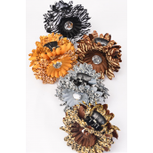 "Jaw Clip Flower Daisy Leopard & Zebra Print Mix/DZ Flower Size-4"" Wide,Jaw Clip-3.5"" Wide,4 White Zebra & 2 of each Other Mix,Hang Card & UPC Code,W Clear box. -"