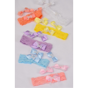 "Headband Infant Stretch Satin Bow-ties & Pearls W Velcro/DZ Bow Size-1.25""x1"" Wide,2 of each Color Asst,Display Card & OPP Bag & UPC Code,12 Display Card=Dozen -"