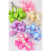"""Hair Bow Grosgrain Loop Bow Flower Print French Clip/DZ **French Clip** Size-5""""x 4"""" Wide,2 Hot Pink,2 Pink,2 Blue,2 Lavender,2 Lime,2 Beige,6 Color Asst,Clip Strip & UPC Code"""