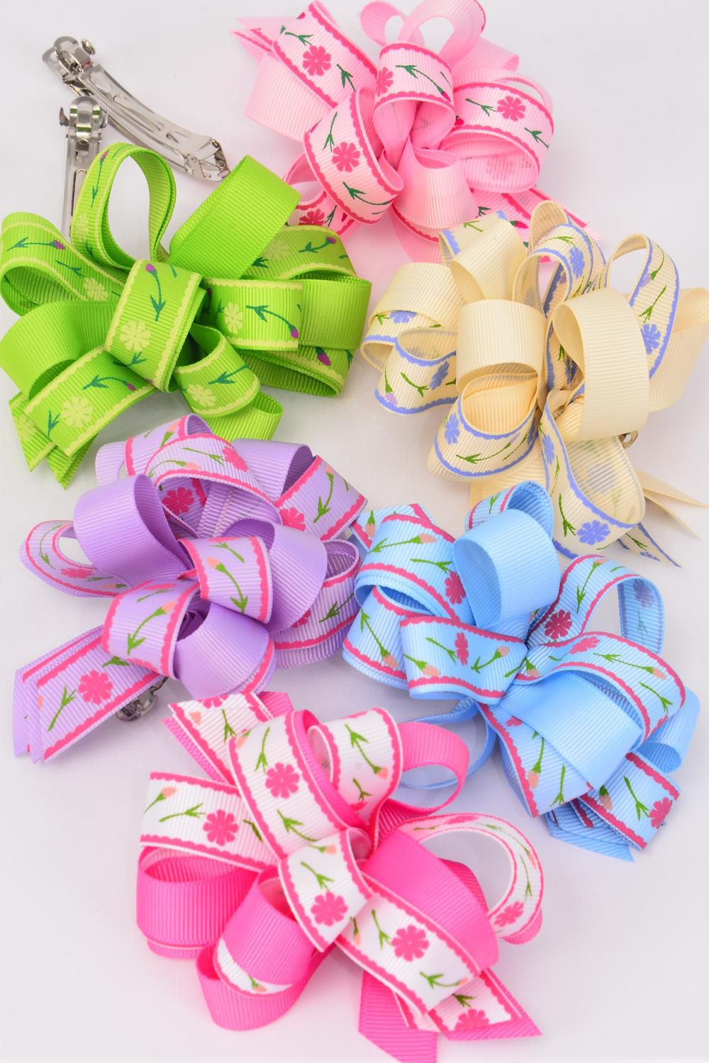 "Hair Bow Grosgrain Loop Bow Flower Print French Clip/DZ **French Clip** Size-5""x 4"" Wide,2 Hot Pink,2 Pink,2 Blue,2 Lavender,2 Lime,2 Beige,6 Color Asst,Clip Strip & UPC Code"